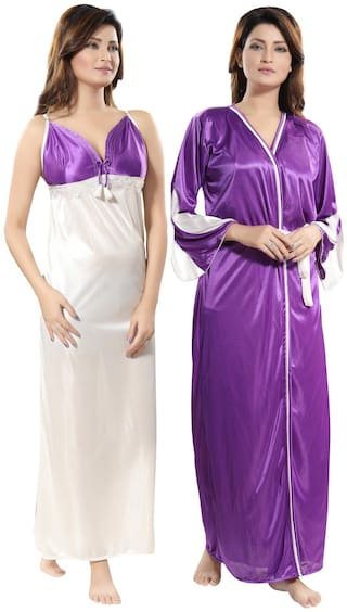 ba6babebd8 Buy Be You Satin Nighty With Robe Solid Nightwear Purple - (Pack of ...