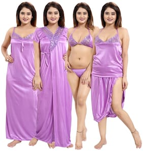Women Solid Nightdress ,Pack Of 6