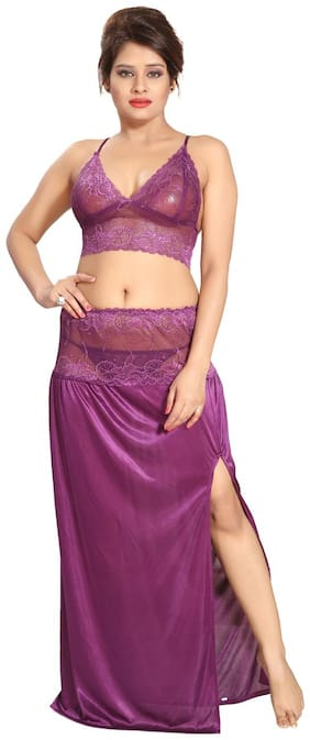 Be You Satin Violet Lacey Crop top & Skirt Nighty Set for Women