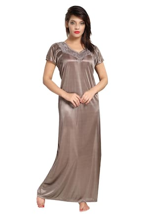 efb89fa4c8bc Buy Be You Satin Night Gown Solid Nightwear Brown - (Pack of 1 ...