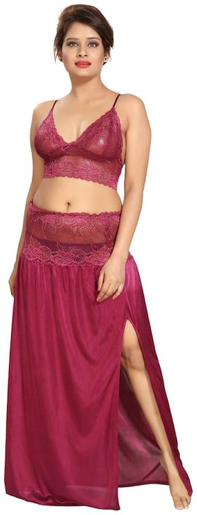 Be You Satin Magenta Lacey Crop top & Skirt Nighty Set for Women