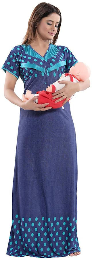Be You Women Maternity Gown - Blue Free size