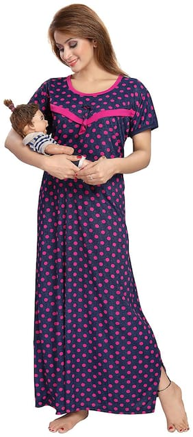 Be You Serena Satin Blue-Pink Polka Dots Printed Feeding / Maternity Nightgown for Women