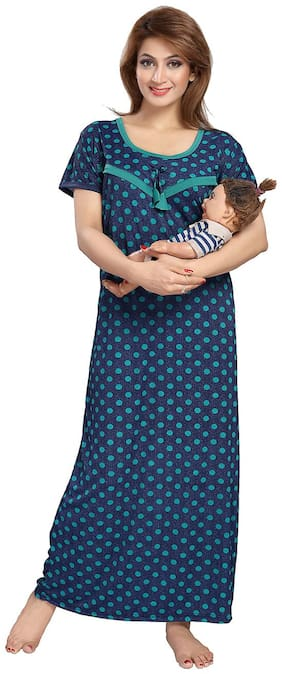 Be You Serena Satin Blue-Green Polka Dots Printed Feeding / Maternity Nightgown for Women