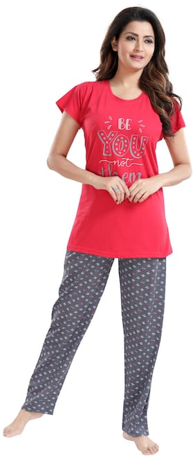 Be You Women Cotton Printed Top and Pyjama Set - Red & Grey