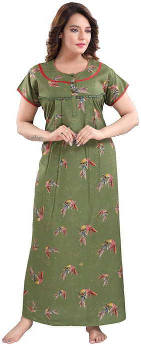 Be You Women Cotton Floral Olive Night Gown