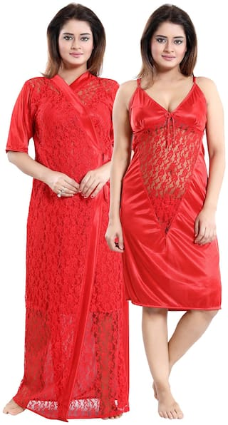 Be You Red Nighty with Robe