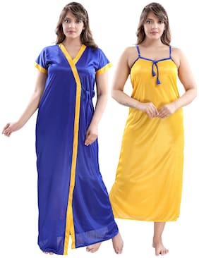 Be You Blue & Yellow Nighty with Robe
