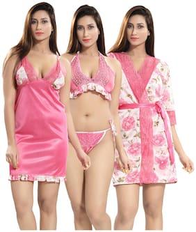 Be You Women Satin Baby Dolls Pink &White