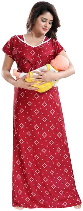 Be You Women Maternity Gown - Red Free size
