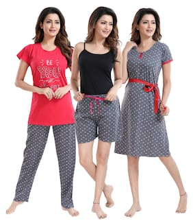 Women Printed Nightdress ,Pack Of 4