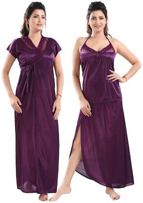 Women Self Design Nightdress ,Pack Of 3