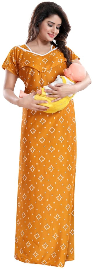 Be You Women Maternity Gown - Yellow Free size