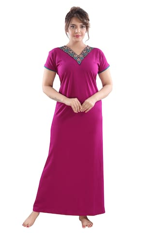 Be You Women Cotton Embroidered Nighties (Magenta)