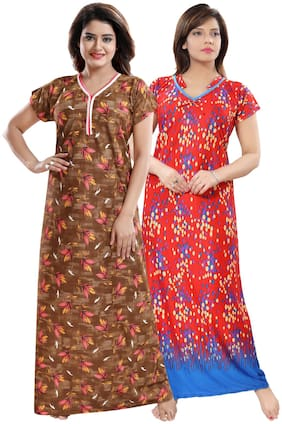 Be You Satin Night gown Printed Nightwear Red & Brown - (Pack of 2 )