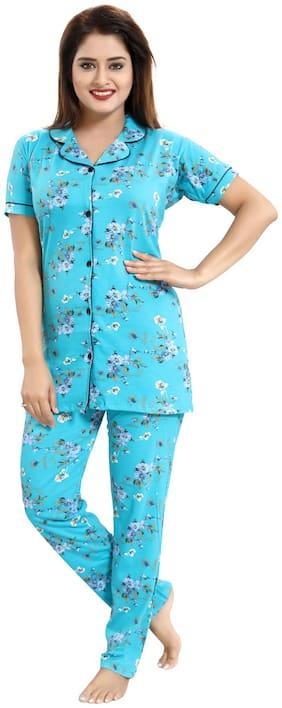 Be You Women Cotton Floral Top and Pyjama Set - Blue
