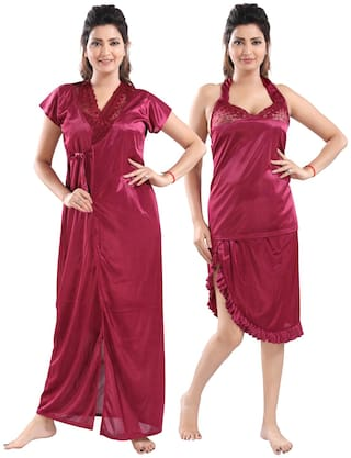 Be You Women Satin Self Design Nighty with Robe Magenta