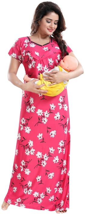 Be You Women Maternity Gown - Pink Free size