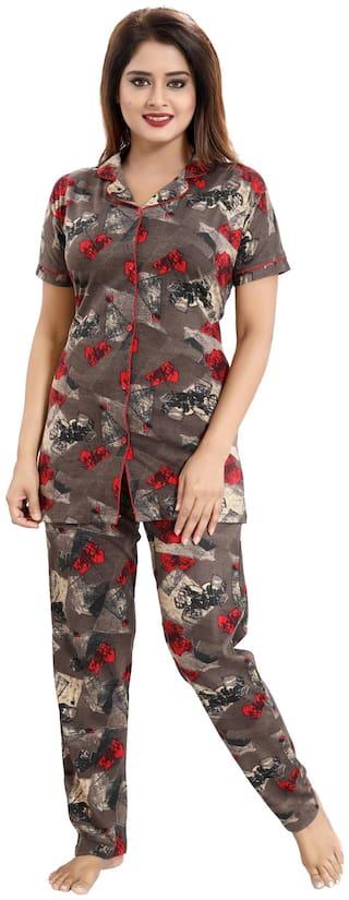 Be You Women Cotton Geometric Top and Pyjama Set - Brown