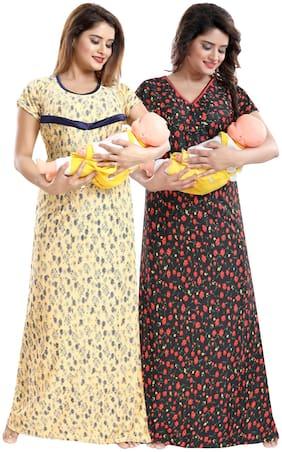 Be You Women Maternity Dress - Yellow & Red Free size