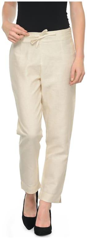 Ivy Blue Women Slim fit Mid rise Printed Regular trousers - Beige