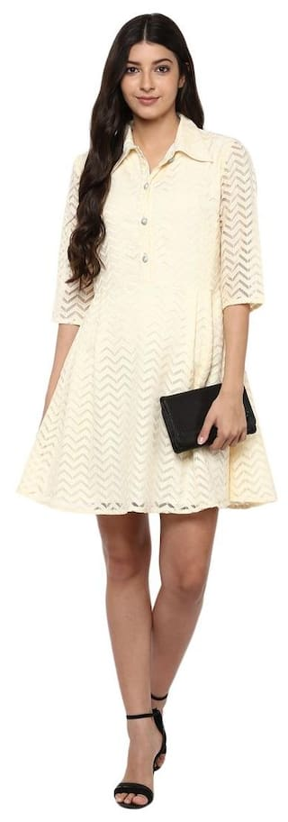 Beige wave Lace collared dress Beige collared Pdwx6qPOv