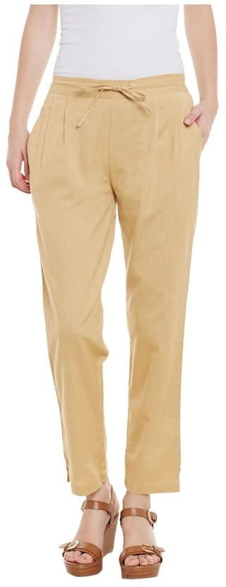 Beige Cotton Solid Trousers