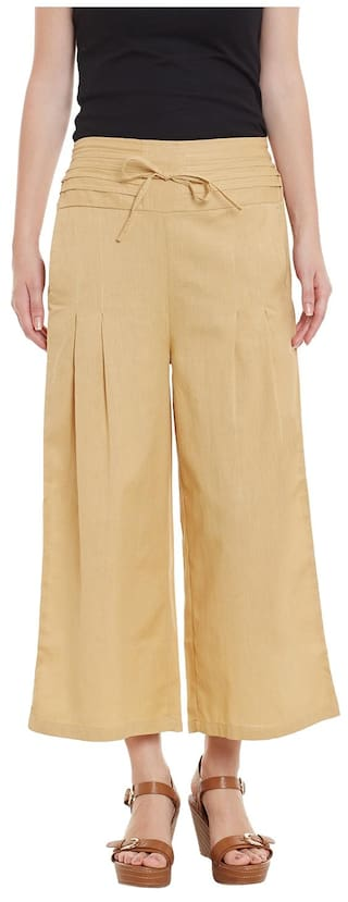 Beige Cotton Solid Palazzo Trousers