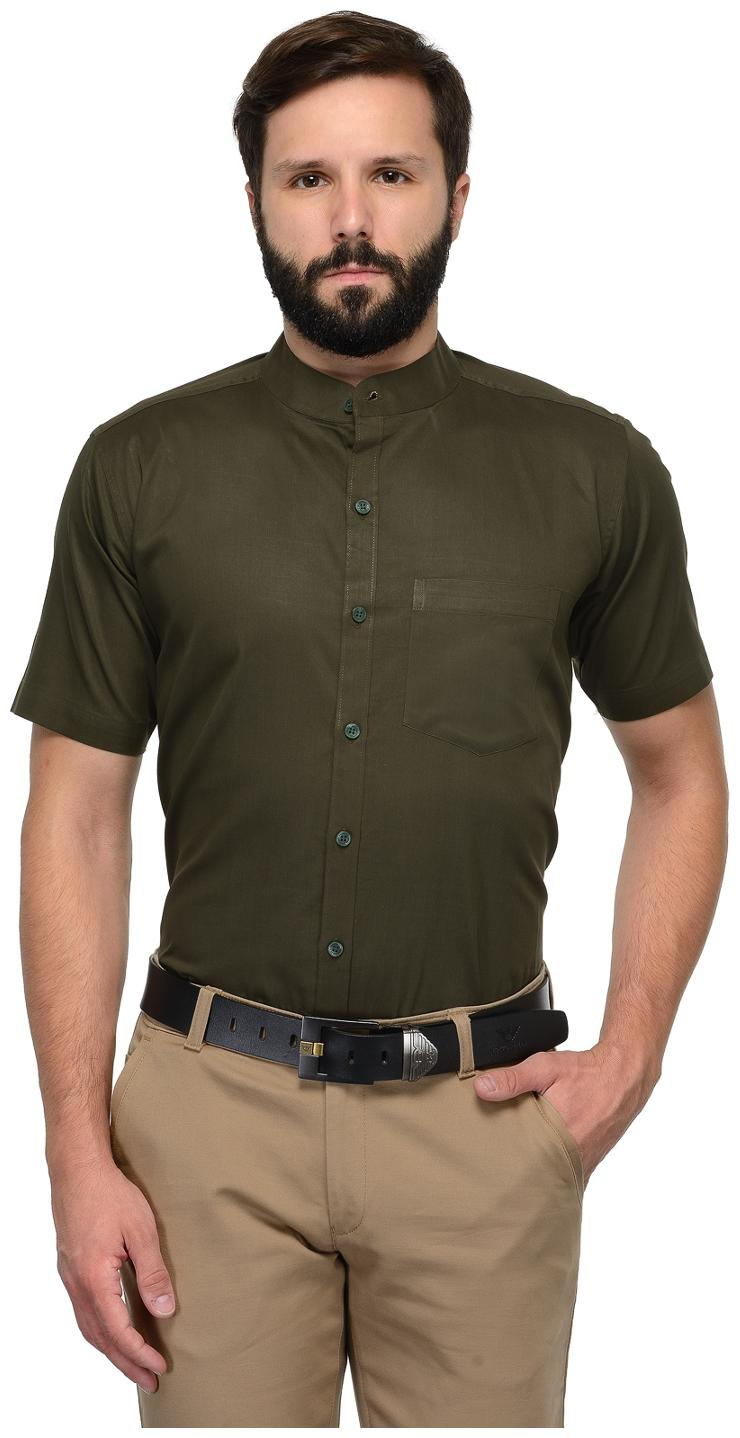 Being Fab Men Green Solid Slim Fit Casual Shirt by Being Fab