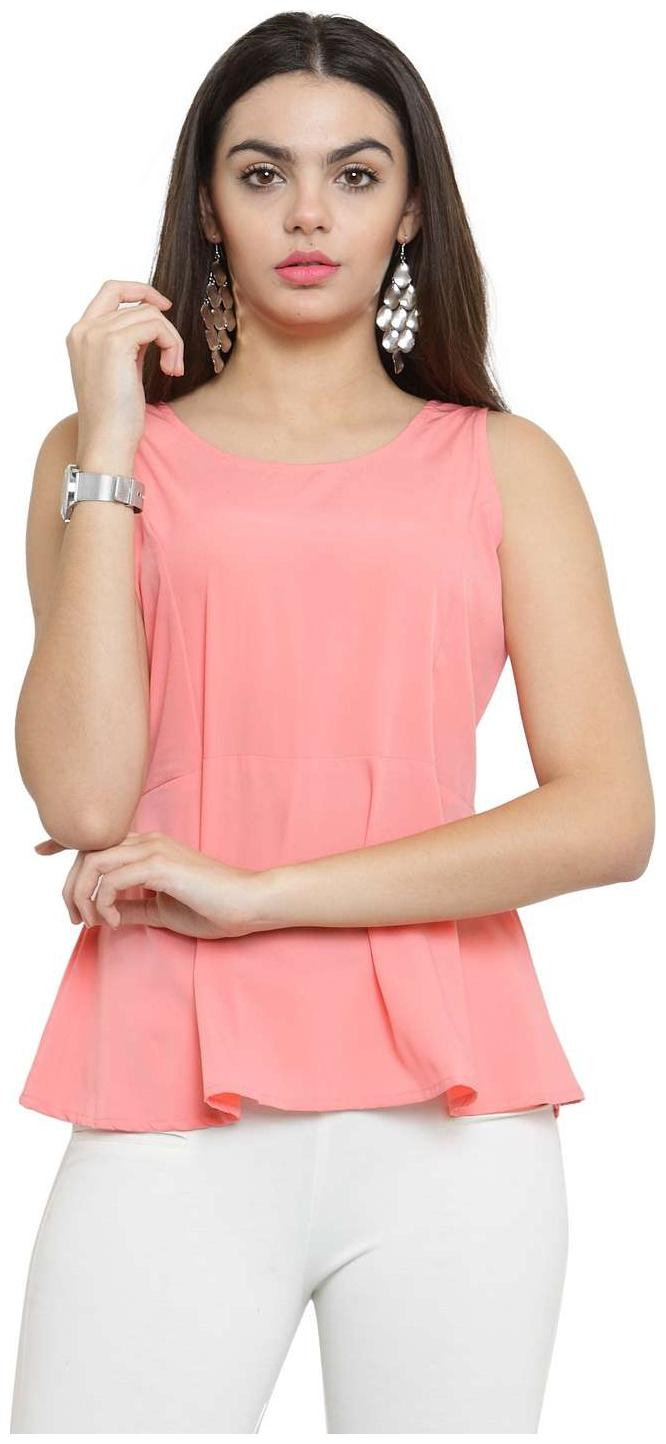 Being Fab Casual Sleeveless Solid Women's Pink Top