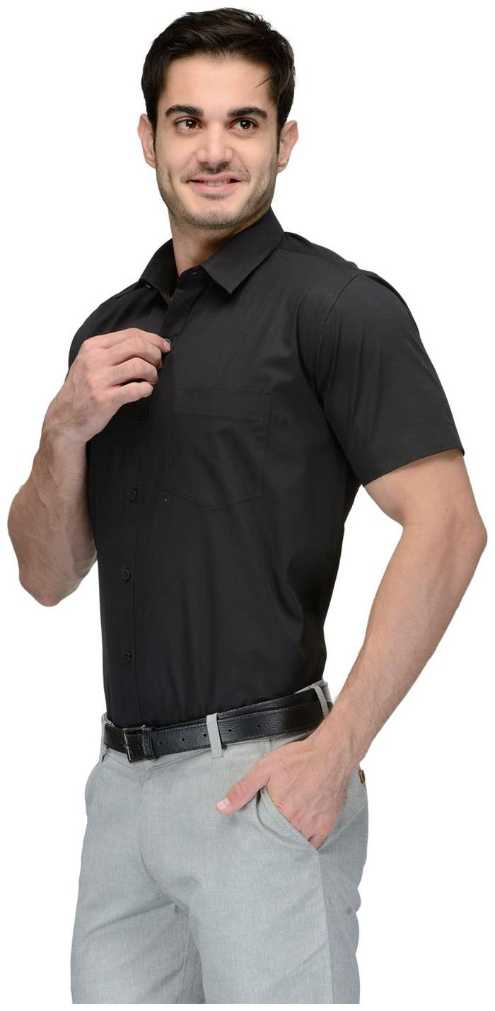 Being Fab Men Black Solid Slim Fit Casual Shirt by Being Fab
