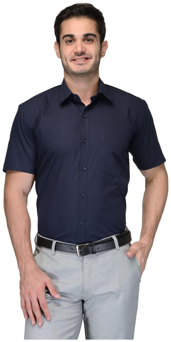 Being Fab Men Blue Solid Regular Fit Casual Shirt by Being Fab