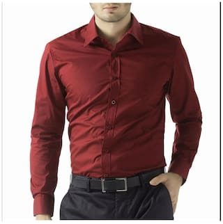 Being Fab Men Maroon Solid Regular Fit Casual Shirt