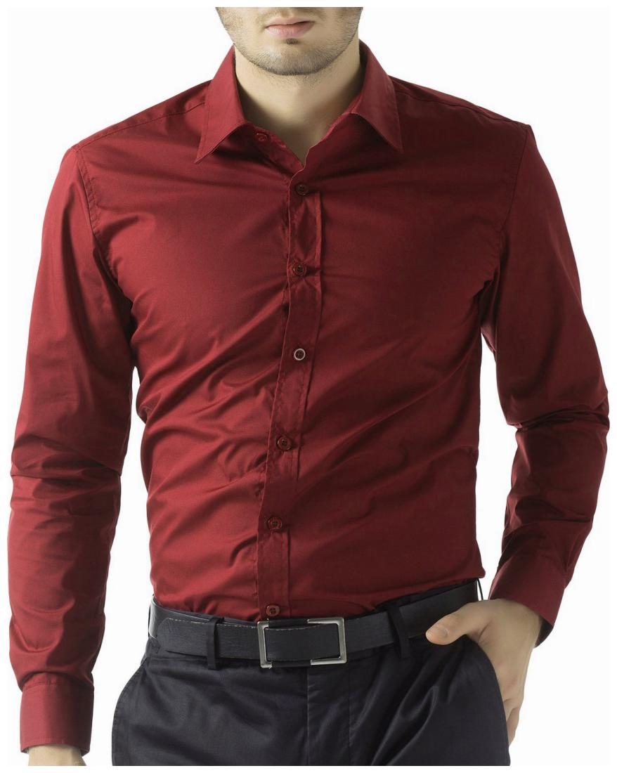 Being Fab Men Maroon Solid Slim Fit Casual Shirt by Being Fab