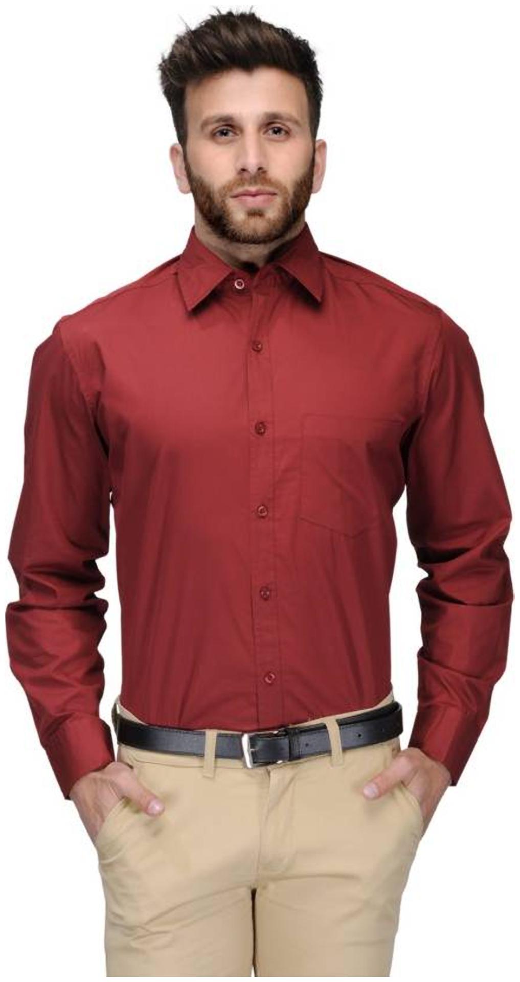 Being Fab Men Slim fit Formal Shirt   Maroon by Being Fab