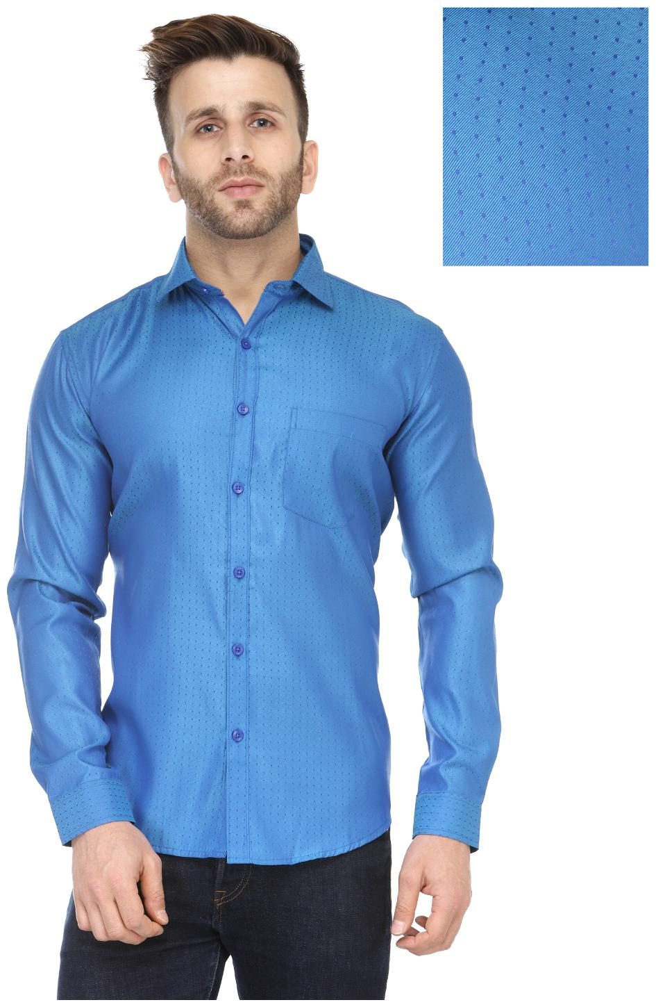 Being Fab Men's Polka Print Casual Lighty Blue Shirt by Being Fab
