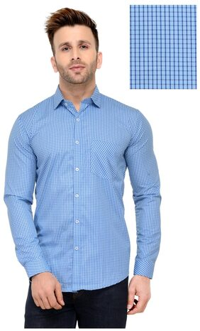Being Fab Men's Blue Check Slim Fit Casual Shirt...