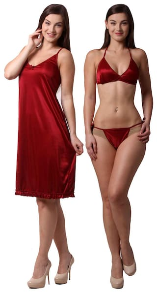 Buy Being Fab Satin Maroon Pack Of 2 Nightwear and Bra   Panty Set ... 78af84ad5