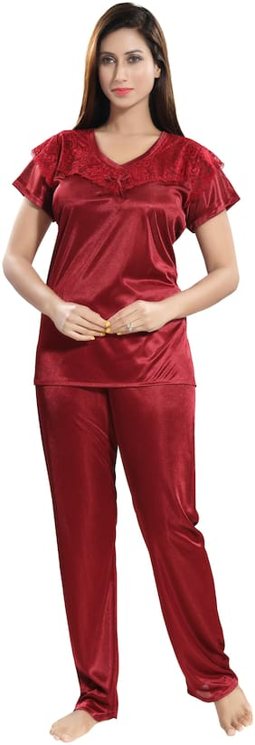 Belle Nuits Maroon T-Shirt Nighty