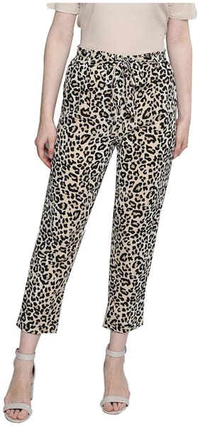 BESIVA Women Regular fit Mid rise Animal print Regular trousers - Multi
