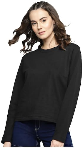 Besiva Women Solid Sweatshirt - Black