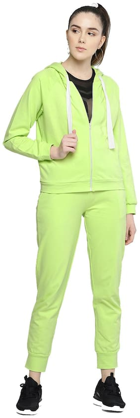 Besiva Women Cotton Track Suit - Green