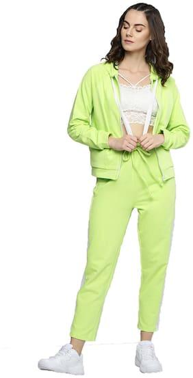 Besiva Women Cotton Track Suit - Green
