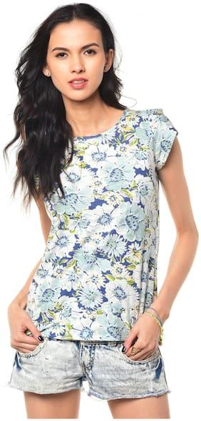 Besiva Women Cotton Printed - Regular top Blue