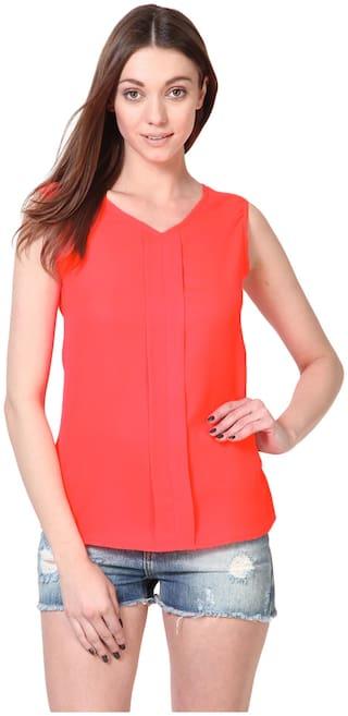 Besiva Women Polyester - Regular top Orange