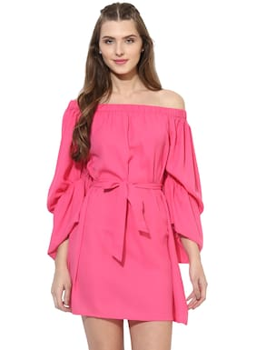 BESIVA Polyester Solid Sheath Dress Pink
