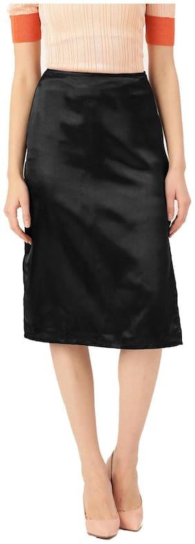 Besiva Solid A-line skirt Midi Skirt - Black