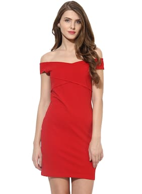 BESIVA Cotton Solid Sheath Dress Red
