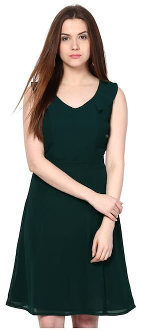 Besiva Sleeveless Dark Green Dress