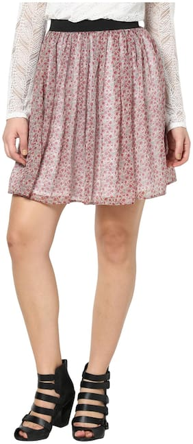 Besiva White And Pink Polyester Skirt (Size-S)